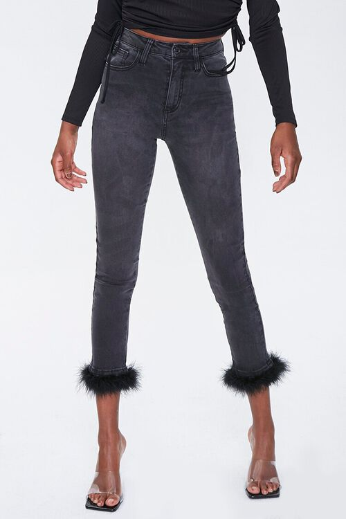 Feathered-Trim Ankle Jeans, image 2
