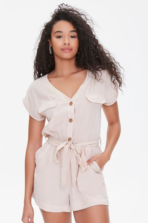 Buttoned Flap Romper, image 1