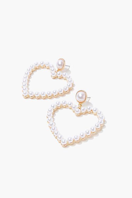 Faux Pearl Heart Earrings, image 1