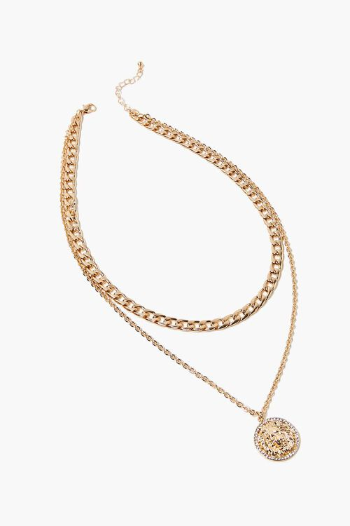 GOLD Lion Pendant Layered Necklace, image 2
