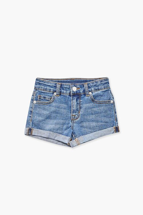 Girls Cuffed Denim Shorts (Kids), image 1