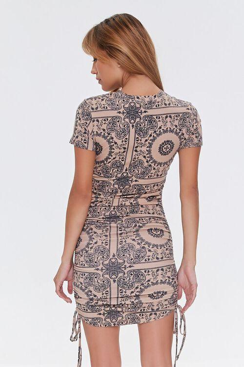CAMEL/BLACK Ornate Bodycon Mini Dress, image 3