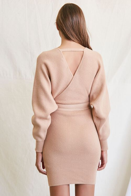 TAUPE Sweater-Knit Wrap Dress, image 3