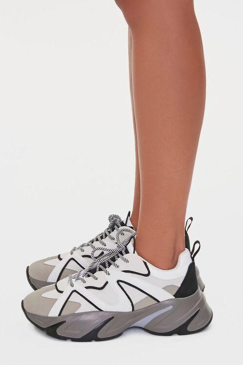 BLACK/WHITE Colorblock Low-Top Sneakers, image 2