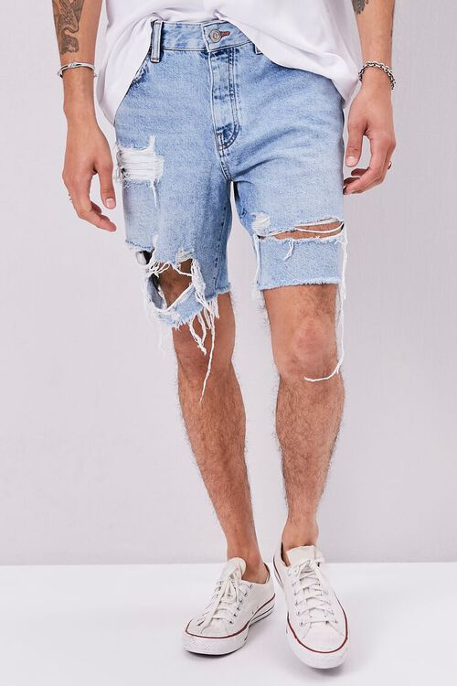 Frayed Distressed Denim Shorts, image 2