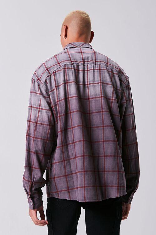 GREY/PLUM Grid Ombre Wash Flannel Shirt, image 3