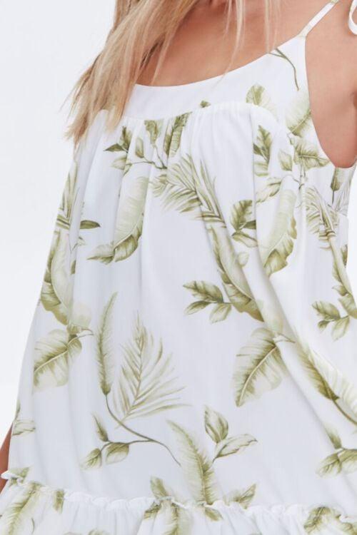 CREAM/GREEN Leaf Print Mini Dress, image 5