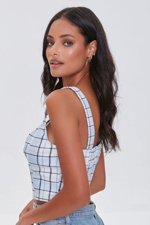 Ruched Plaid Crop Top, image 2