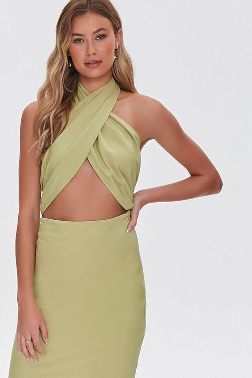 LIGHT OLIVE Crossover Halter Dress, image 5