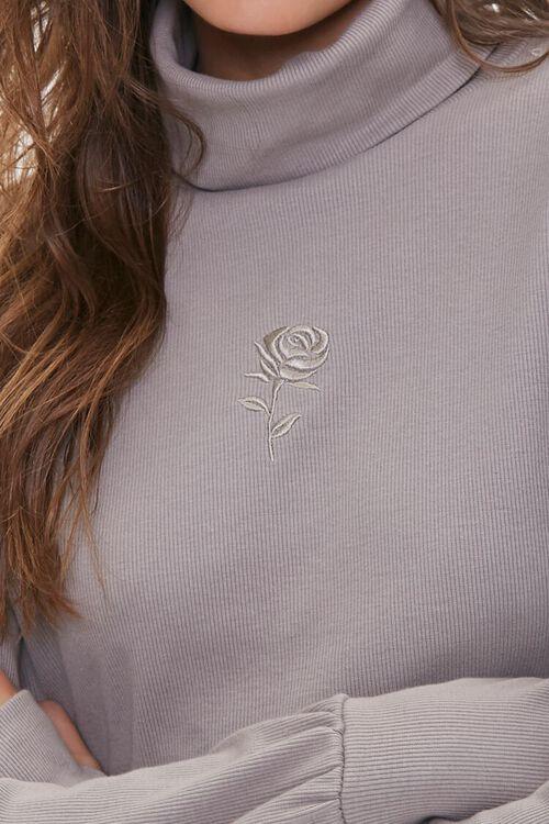 Embroidered Rose Turtleneck Top, image 6