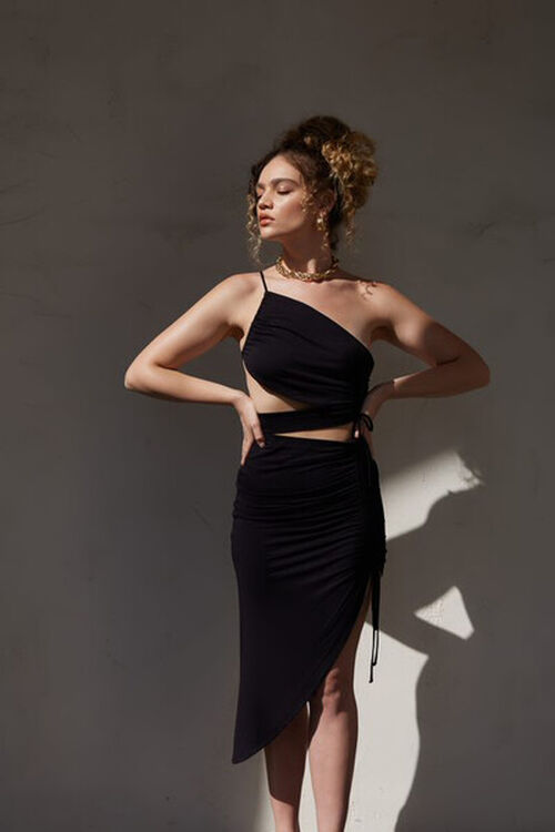 Ruched High-Low Skirt, image 1