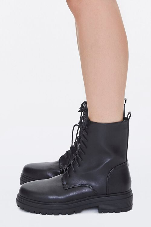 Faux Leather Lace-Up Ankle Boots, image 2