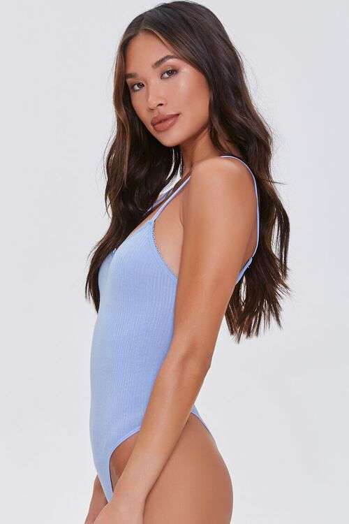DUSTY BLUE Seamless Ribbed Cami Bodysuit, image 2