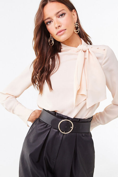 Tie-Neck Curved Hem Top, image 1