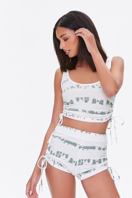 Tie-Dye Ruched Drawstring Shorts, image 1