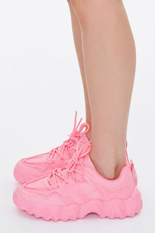 PINK Faux Leather Low-Top Sneakers, image 2