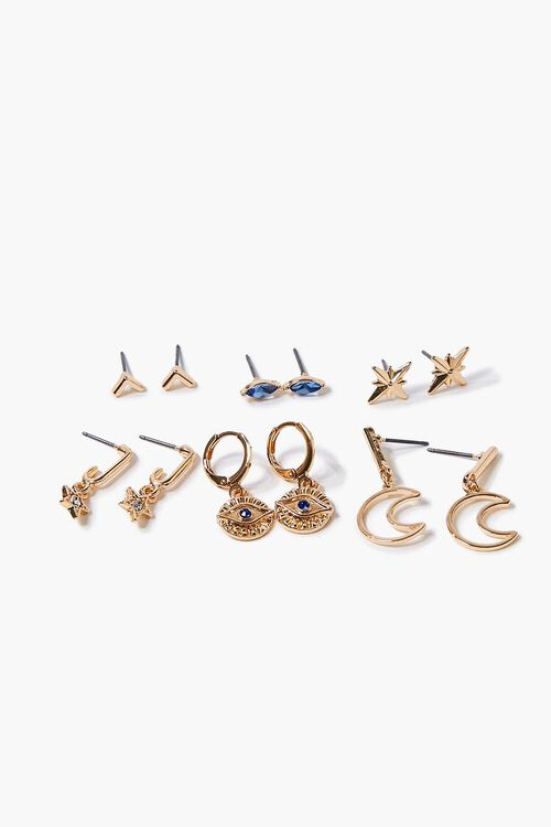 GOLD Moon Charm Hoop & Stud Earring Set, image 1