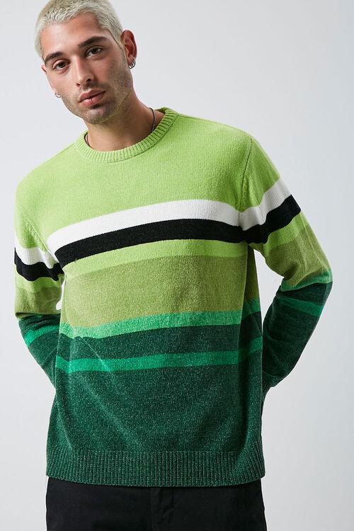 Chenille Striped Crew Neck Sweater, image 1