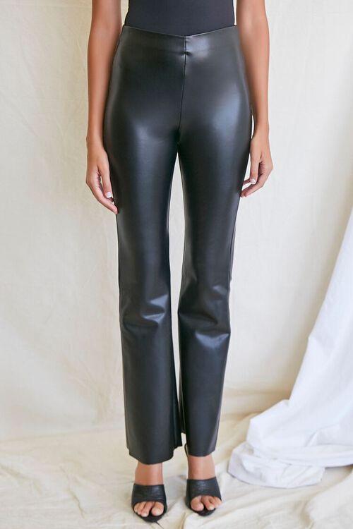 BLACK Faux Leather Flare Pants, image 2