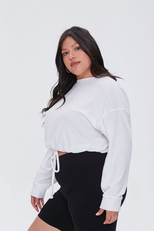 CREAM Plus Size French Terry Drawstring Pullover, image 2