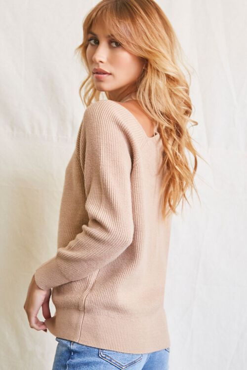 TAUPE Open-Shoulder Buttoned Sweater, image 2