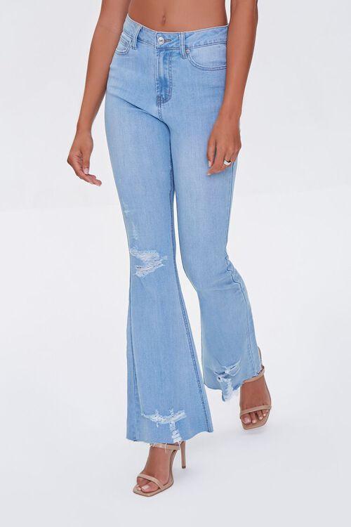 LIGHT DENIM Premium Distressed Flare Jeans, image 2