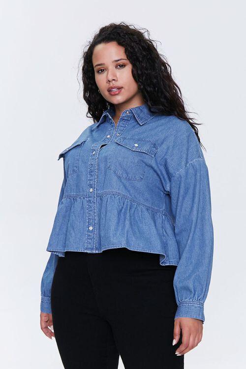 Plus Size Denim Flounce-Hem Shirt, image 1