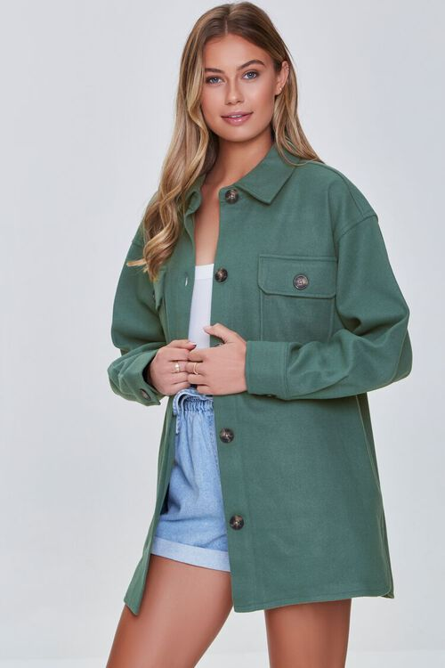 GREEN Oversized Button-Front Shacket, image 6