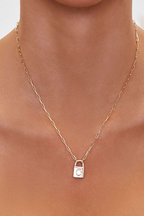 Letter Lock Charm Necklace, image 1