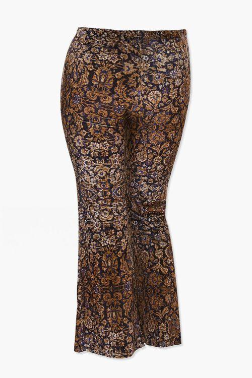 BLACK/TAN Plus Size Velvet Ornate Print Flare Pants, image 3