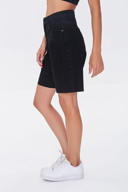 BLACK Raw-Cut Denim Bermuda Shorts, image 3