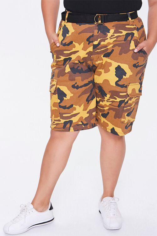 Plus Size Camo Cargo Shorts, image 2