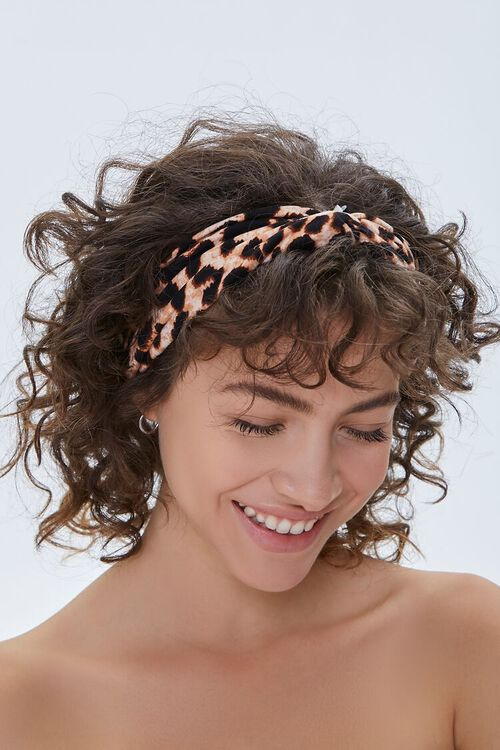 Leopard Print Twisted Headwrap, image 1