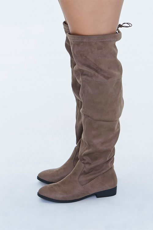 Faux Suede Thigh-High Boots (Wide), image 2