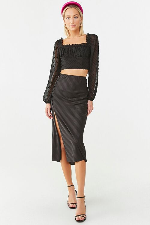 Striped Satin Midi Skirt, image 5