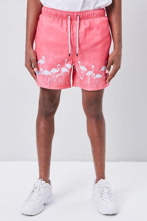 Flamingo Print Swim Trunks, image 2