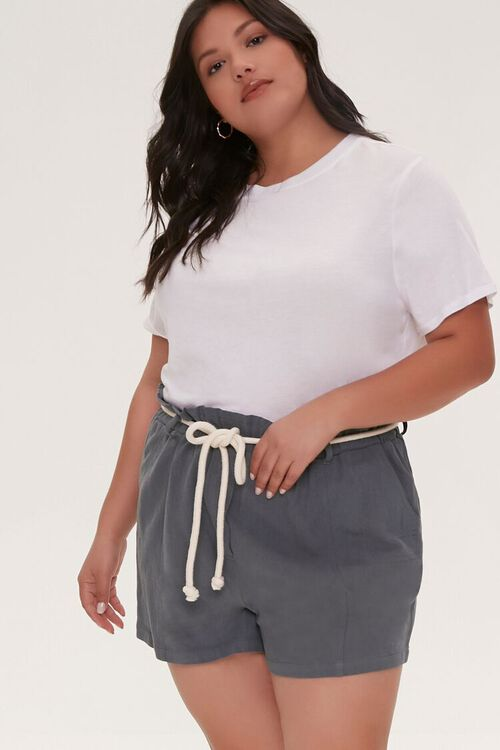 Plus Size Rope Belt Paperbag Shorts, image 1