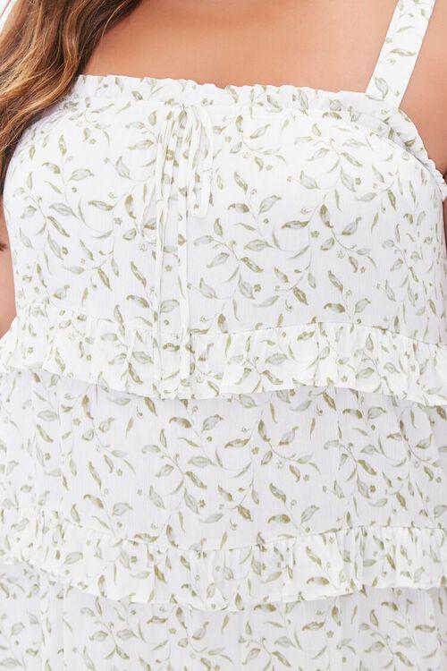 Plus Size Leaf Print Tiered Mini Dress, image 5