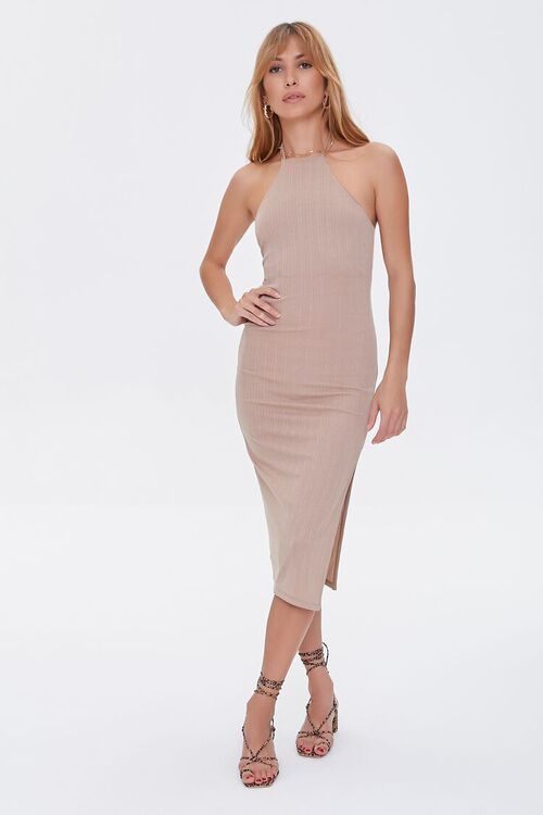 TAUPE Ribbed Knit Halter Dress, image 1