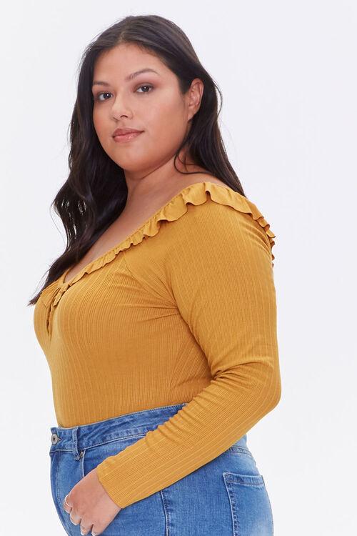 Plus Size Ribbed Ruffle Bodysuit, image 2