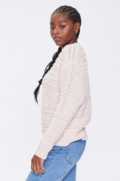 BLUSH Cable Knit Crew Sweater, image 2