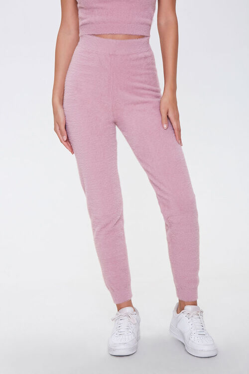 Fuzzy Sweater-Knit Joggers, image 2