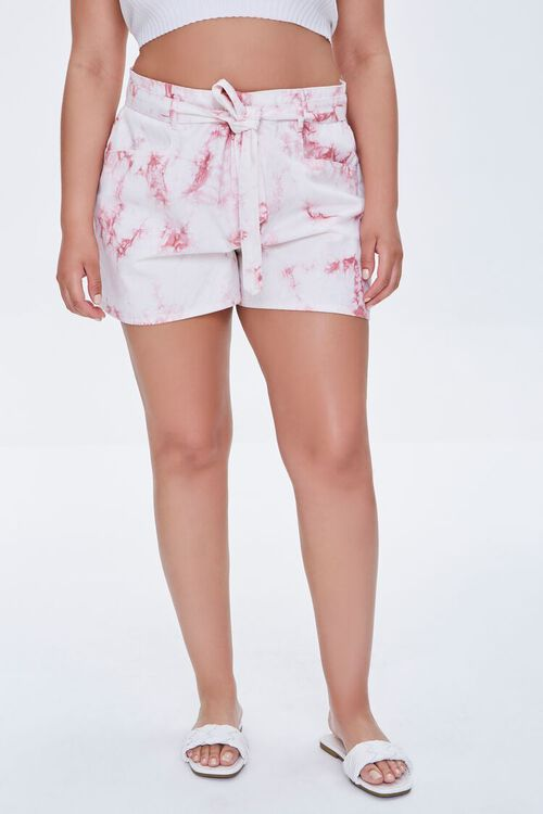 Plus Size Belted Tie-Dye Shorts, image 2