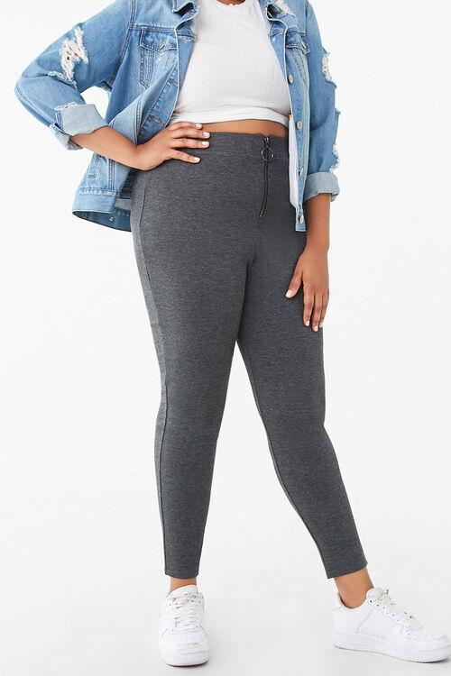 Plus Size Zip-Front Leggings, image 1