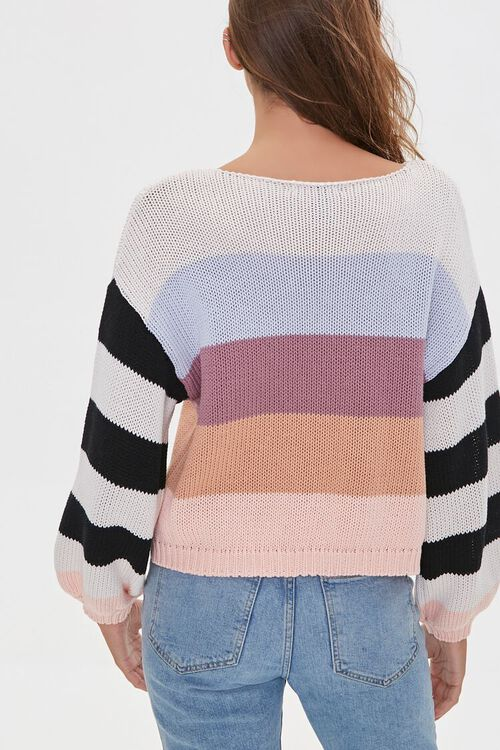 Striped-Sleeve Colorblock Sweater, image 3