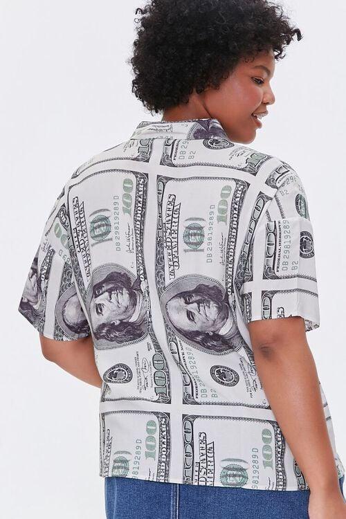 CREAM/BLACK Plus Size Hundred Dollar Bill Shirt, image 3