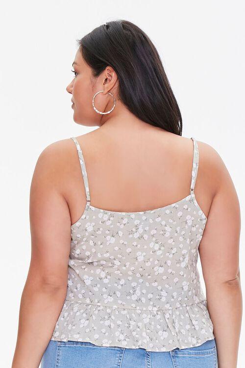 Plus Size Floral Buttoned Cami, image 3
