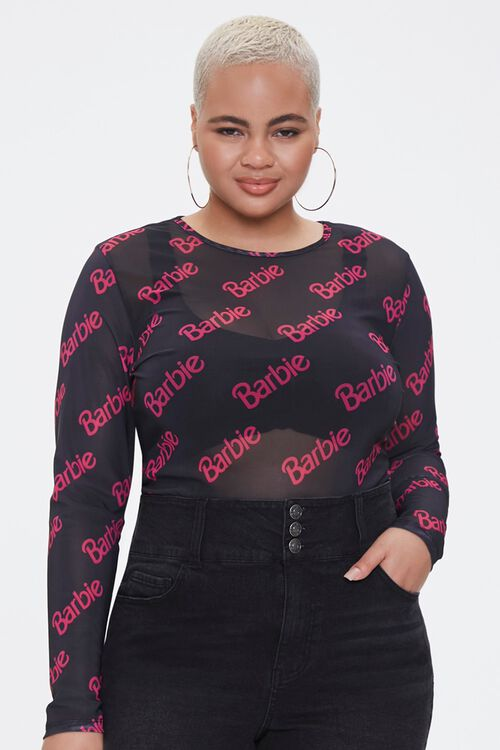 Plus Size Sheer Mesh Barbie™ Top, image 1