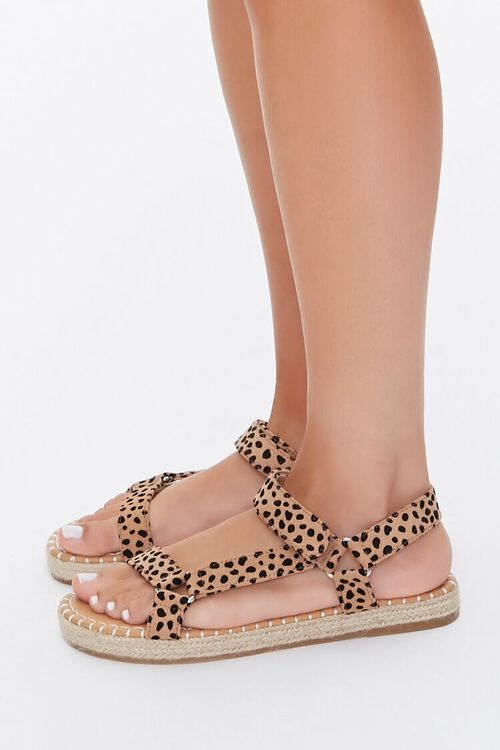 BLACK/BROWN Cheetah Print Espadrille Flatform Sandals, image 3