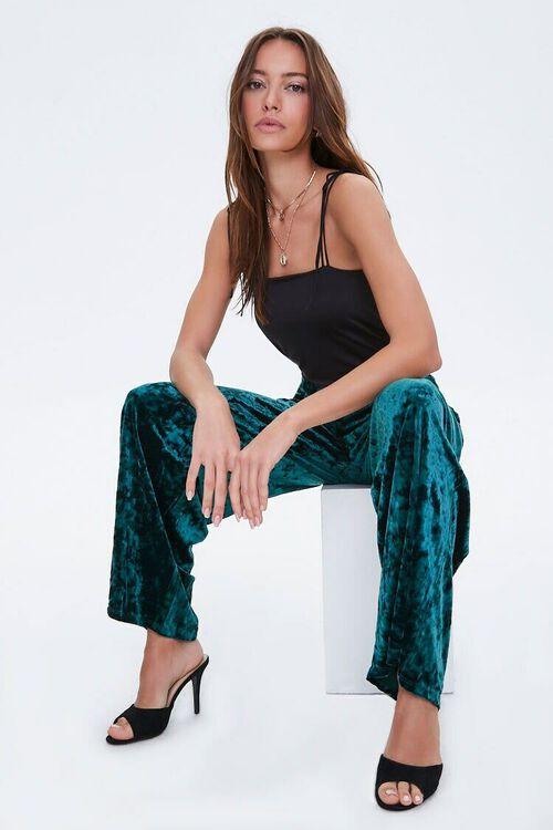 HUNTER GREEN Crushed Velvet High-Rise Flare Pants, image 1